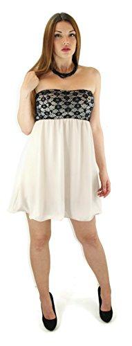 #721 de soirée pour femme avec pointes robe de soirée courte en chiffon élégante de couleur bleu/noir/beige/blanc/turquoise taille 34/36/38 Beige - Beige
