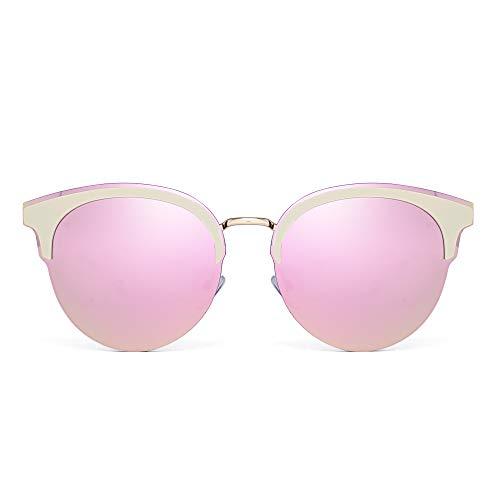 JM Designer Browline Runden Sonnenbrille Halb Randlos Gradient Schatten für Damen(Gold/Spiegel Pink)
