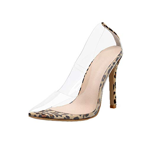 ESAILQ -Sandalias para Mujer, Transparentes Zapatos de tacón Leopardo