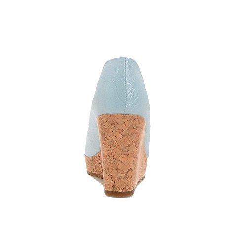 AgooLar Femme Matière Mélangee Tire Rond à Talon Haut Couleur Unie Chaussures Légeres Bleu