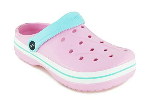 TEPU | Clogs Pantoletten Für Damen Komfort Design Qualität | Pink | Blau | Fuxia | Größen: 36-41 (36 EU, Pink) -