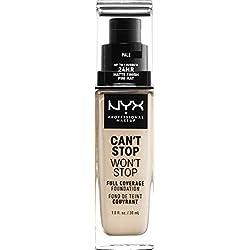NYX Professional Makeup Base de maquillaje Can't Stop Won't Stop Full Coverage Foundation, Larga duración, Waterproof, Fórmula vegana, Acabado mate, Tono: Pale