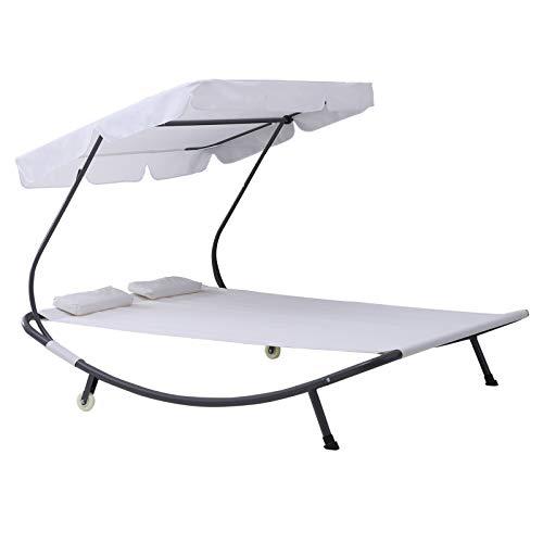 Outsunny Doppelliege Sonnenliege Relaxliege rollbar mit Dach Stahl Cremeweiß 200 x 173 x 155cm