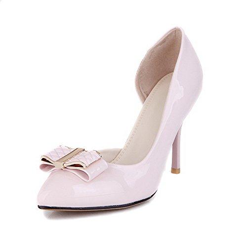 VogueZone009 Femme Tire Fermeture D'Orteil Pointu Stylet Couleur Unie Chaussures Légeres Rose