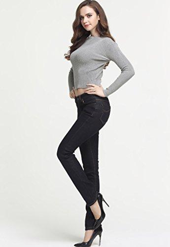 Camii Mia Damen Normaler Bund Mid Rise Slim Fit Skinny Fleece Jean Schwarz