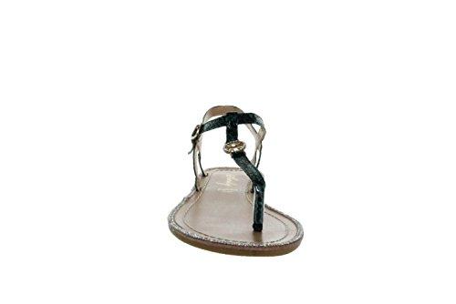 Sinly - Sandale Plate Imprimé Reptile, Contour De La Semelle Composé De Strass - Femme Vert