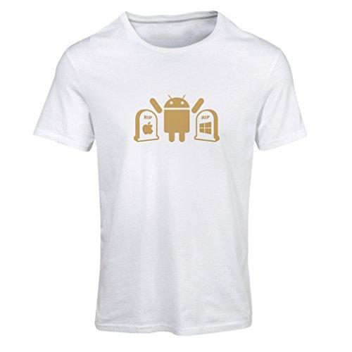 Frauen T-Shirt Der Gewinner ist Android - Geschenk für Tech-Fans (Large Weiß Gold)