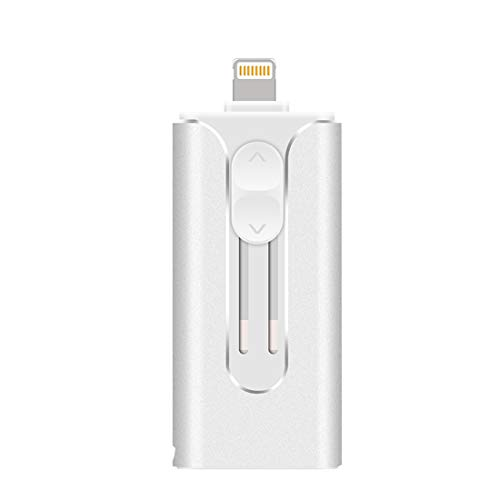 USB-Flash-Laufwerk, USB 3.0, externer Speicher, kompatibel mit iPhone, iPad, iPod, iOS, Android PC, MacBook, OTG Pen Jump Drive Adapter, Y12 Silber 64 GB