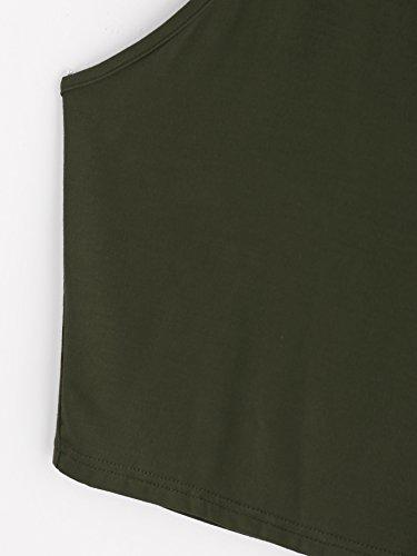 ROMWE Damen Tie Dye Neckholder TrägerCrop Top Sommer Schulterfrei Bauchfrei Crop Top Armee Grün