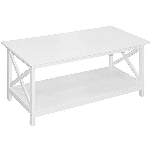 Promobo - Table Basse De Salon Etagère Rangement Style Tropic Blanc Bois