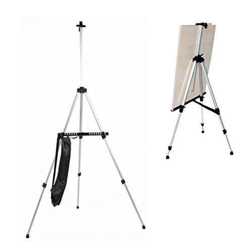 amzdeal® Staffelei Atelierstaffelei Verstellbare Höhe: 53-152cm mit kostenlose Nylon Tasche Aluminium (Silber)