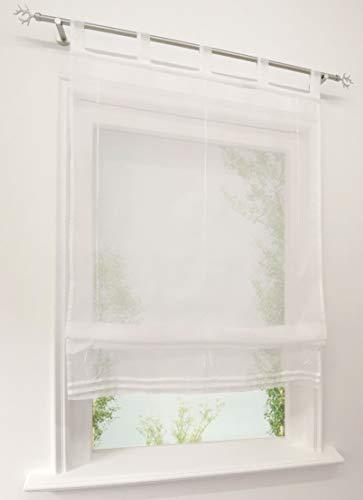 CURTAIN LAND Raffrollo Voile Raffgardinen mit Schlaufen Schlaufenrollo Transparent Gardine (BxH 100x140cm, Weiß) (Küche Land Vorhänge)