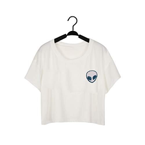 ck Kurzarm T Hemd Kunden Alien Ultra Kurze Streifen Drucken Straße Casual Weibliche Top Alien Druck T-Shirt ()