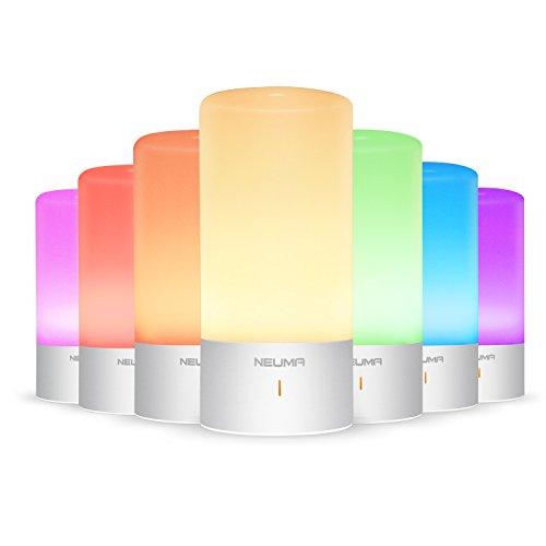 NEUMA Smart Nachttischlampe,led Schreibtischlampe, Dimmbar, Warmweiß, Kinderzimmer Nachtlicht, Touch Sensor und 256 RGB, 7 Mögliche Farbwechsel