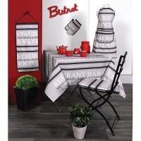 Lovely Casa N66591001 Bar Tischdecke aus recycelter Baumwolle, grau/weiß/schwarz, 140 x 140 cm