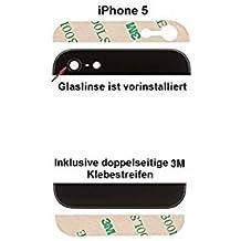 Tapa/ carcasa trasera MMOBIEL para Iphone 5G Negro –la parte superior e inferior de cristal negro con lente de cámara y flash pre instalado y pegatinas adhesivas 3M.