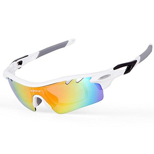 Inbike occhiali ciclismo polarizzati anti-uv con 5 lenti intercambiabili per sport(bianco)