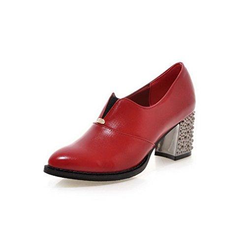AllhqFashion Damen Eingelegt Pu Leder Mittler Absatz Spitz Zehe Ziehen Auf Pumps Schuhe Rot