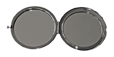Taschen - Spiegel aus verchromten Metall mit buntem Smiley - Motiv