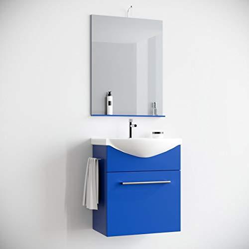 MarinelliGroup Mobile Bagno salvaspazio sospeso 60 Blu con lavabo Ceramica Specchio e Luce. Papavero