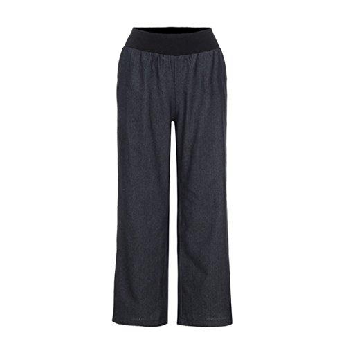 Frauen-beiläufige Jeans-Hose,KANGZHUANG Hohe Taille Elastizität Denim Breite Bein Palazzo Hosen Jeans Hosen (Schwarz, S) (Breite Hosen Chiffon Bein)