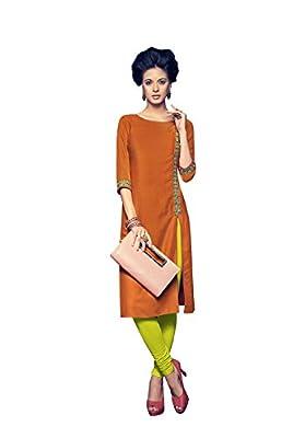 AttitudeFashion Reyon Orange kurti for women - Orange Sleeve:- 3/4th Sleeves