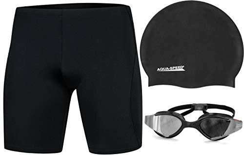 Aqua Speed Herren Schwimmhose Blake REVO + Badekappe Racer + Schwimmbrille Blade Mirror | Chlorresistent | Formbeständig, Größe: M, Farbe: Schwarz