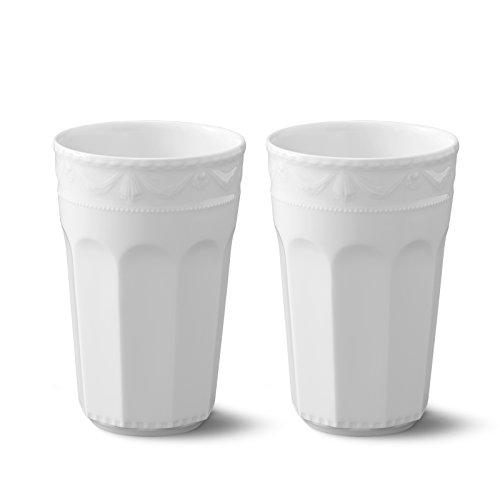 KPM Berlin Kurland Latte Macchiato Becher Duo-Set 0.48 L, Porzellan, Weiß, 2-teilig, in Geschenkverpackung