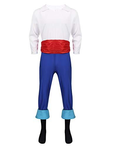 Herren Für Prinz Charming Kostüm - iEFiEL Herren Arabischer Prinz Kostüm Set - 4 Teile - Satin Hemd Shirt/Hose/Kummerbund/Fußabdeckung - Herrenkostüm Halloween Cosplay Verkleidung Schwarz & Blau M