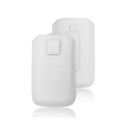 tag-24 Schutzhülle Slider Deko Etui Handytasche Cover passend für KAZAM LIFE C4 weiß