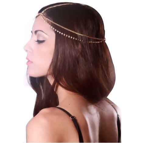 Artistic9 Kopf Kette für Frauen Mädchen   Bohemian Diamant Doppelschicht Quaste Kopfkette Haarschmuck   Legierung Gold Strass Boho Kopf Stück   Bridal Kopfschmuck   52cm- (Gold)