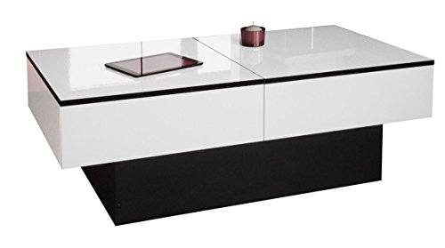 Berlioz Creations Amelie Couchtisch, folierte Spanplatte, Weiß glänzend und schwarz, 113x 60x 40cm