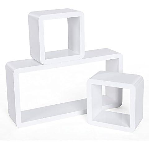 Songmics Estante de 3 sets para la sala, estanterías de pared para libros, DVDs, cosas pequeñas 3 Cubos