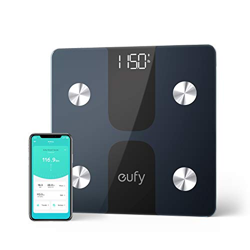 eufy C1 Bilancia Smart con Bluetooth, Grande Display LED, 12 Misurazioni, Analisi delle Composizione del Corpo con Peso/Grasso Corporeo/BMI/Fitness Body, Auto On/off, Superficie in Vetro Temperato