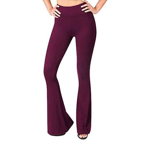 Haludock Frauen Solide Hohe Taille Breite Beinen Yoga Hosen Damen Hosen Hohe Taille Elastisch und Atmungsaktiv für Yoga Laufen Fitness -