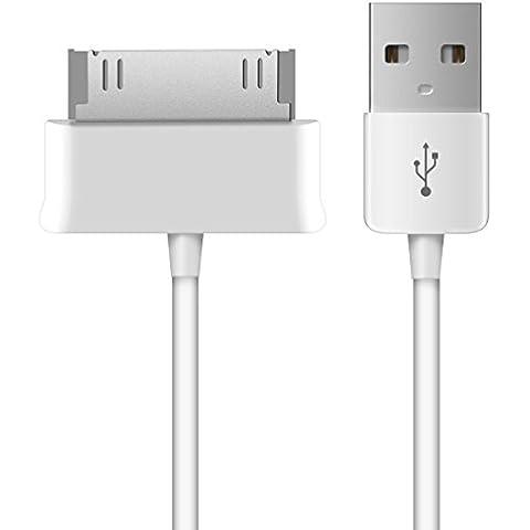 kwmobile Cable de carga USB para el Samsung Galaxy Tab 1/2 10.1 /Tab 2 7.0 /Note 10.1 en blanco