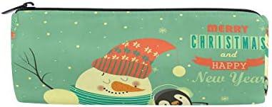 Bonipe Merry Christmas vintage Pingouin Bonhomme Bonhomme Bonhomme de neige Trousse Pochette Sac d'école papeterie Pen Box Zipper Cosmétique Sac de maquillage | Luxuriante Dans La Conception  8adbe6