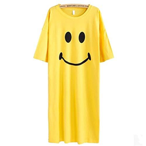 JYJM Kleid Freizeit Mädchen Lächelndes Gesicht Gedruckt Pyjama Kleid Frauen Fünf Ärmel Nachtwäsche Außerhalb Einfach Dünn und Leicht Outdoor Strandkleid