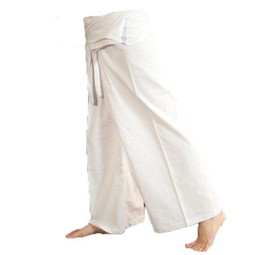 Guru negozio di cotone pantaloni pescatore, pantaloni yoga avvolgente in Nepal–Petrol, Uomo/Donna, Blu, Cotone, Size: One size, Fischer Pantaloni Lunghi taglia Alternative Abbigliamento White