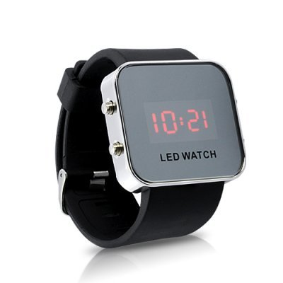 SahiBUY Mirror LED Watch with Digital Display and Rubber Strap