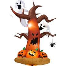 Gemmy Halloween luftobjekte 8'Hoch aufblasbar Dead Tree W/Ghost auf Top/Kürbisse Unten