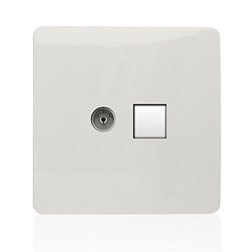 Trendi Modern Glossy Tactile - Toma coaxial para TV (RJ45, Cat. 5e,...