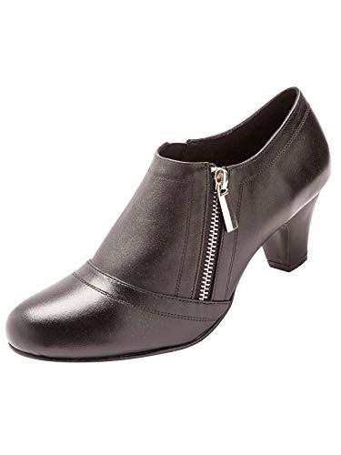 Pediconfort - Boots zippées en Cuir Largeur Confort - Femme - Taille : 41 - Couleur : Noir