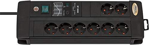 Oferta de Brennenstuhl Premium-Line Duo regleta de enchufes con 8 tomas de corriente y protección contra sobretensiones hasta 30.000 A (3 m de cable, interruptor, fusible reemplazable, Hecho en Alemania) negro