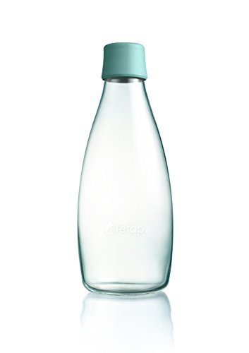 Retap Borosilikatglas Wasser Flasche, Mint blau, 0,8Liter/groß (Retap Trinkflasche Glas)