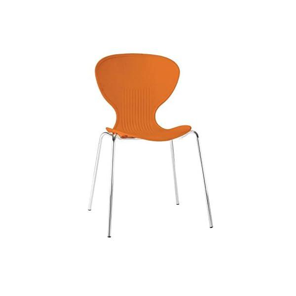 Sedie Impilabili In Plastica.Bolero Gp505 Plastica Lato Sedie Impilabili Arancione Confezione