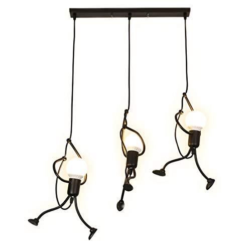 40W LED Kronleuchter Schwarz Modern Pendelleuchte Höhenverstellbar Kreativer Charakter Eisen Mini Karikatur Puppe Dekoration Wohnzimmer Schlafzimmer Esszimmer E27 (Glühbirne nicht enthalten) (L)