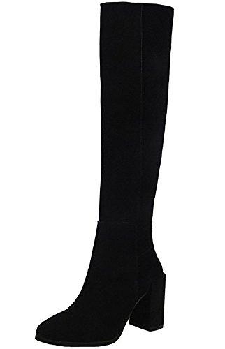 Wealsex Bottes Cuissardes en Suédine à Talon Carré Bout Ronde Bottes au-dessus du genou Fourrées Intérieur Fermeture Eclair Mode Femme Noir