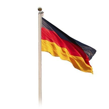 Fahnenmast aus Aluminium 6,20 m - mit Deutschlandflagge und goldener Kugel
