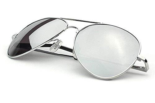 Pilotenbrille Fliegerbrille Spiegelbrille Pornobrille Sonnenbrille Polizei Brille silber verspiegelt Unisex Herren Damen Männer Frauen X02 ()